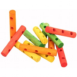 Colourful Wood Drilled Dowels x16