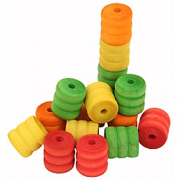 colourful wood shaped spools x16