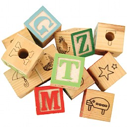 Colourful Wooden ABC Blocks Large x12