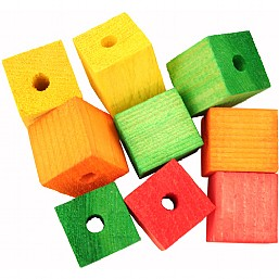 Colourful Wooden Cubes Large x9