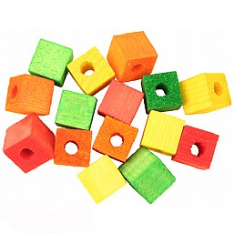 Colourful Wooden Cubes  Small x15