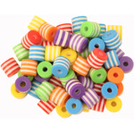 Multi-Coloured Plastic Beads - 50 pack